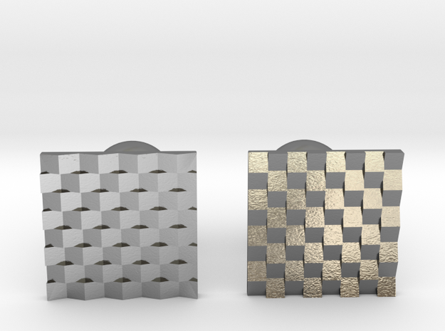 Chessboard Cufflinks in Polished Silver