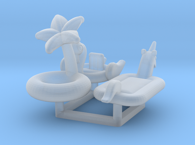 Pool Floats (3 types) N-Scale 1:160 in Smooth Fine Detail Plastic