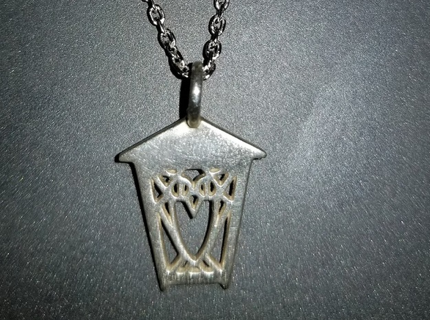 Owl Lantern Pendant - Delicate Sterling Silver in Polished Silver