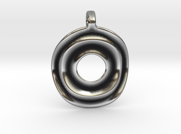 Disk shaped pendant in Antique Silver