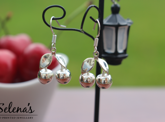The Cherry Earrings in Polished Silver