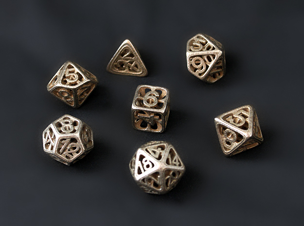 Hedron Dice Set in Polished Bronzed Silver Steel: Polyhedral Set