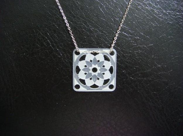 Square Pendant or Charm - Sixteen Petals 3d printed