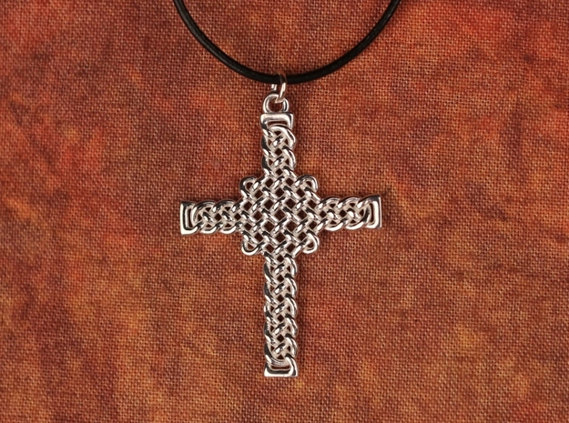 Celtic Knot Cross Pendant in Polished Silver: Small