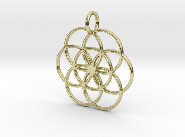 Seed of Life Pendant in 18K Yellow Gold