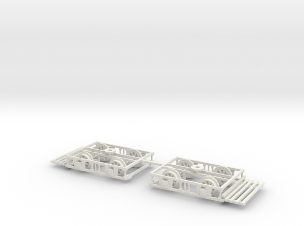 Blackpool Lancaster Bogies With Trays And Wheels  in White Natural Versatile Plastic: 1:76 - OO