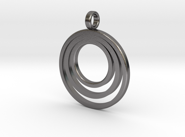 Circle Necklace_3 rings_1 inch v1 in Polished Nickel Steel: Medium