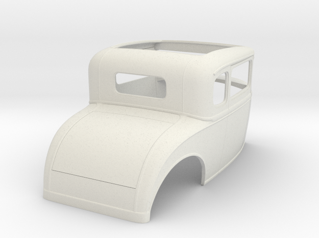 """1/8  1930 Ford Coupe, 2.5"""" chop in White Natural Versatile Plastic"""
