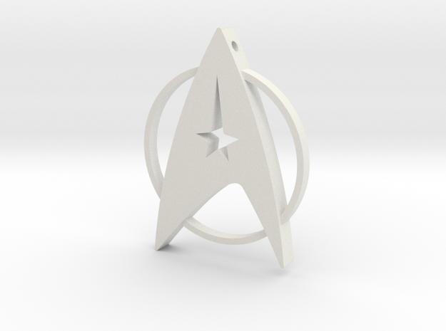 Star Trek Pendant in White Premium Versatile Plastic