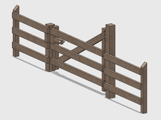 Wood Gate - L-Out Swing (HO) in White Natural Versatile Plastic: 1:87 - HO