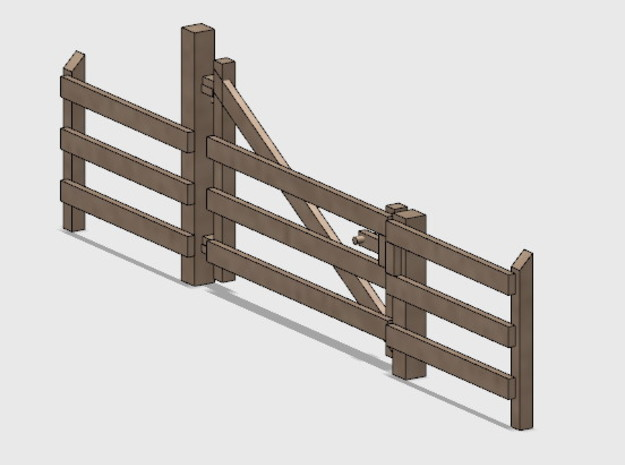 Wood Gate - R-Out Swing in White Natural Versatile Plastic: 1:87 - HO