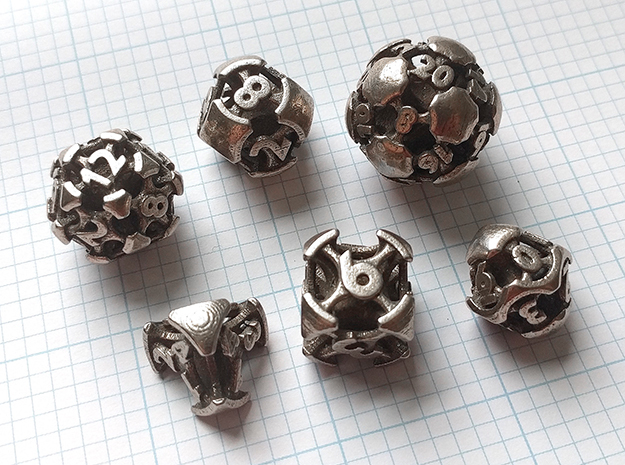 Chord Dice Set in Polished Bronzed-Silver Steel