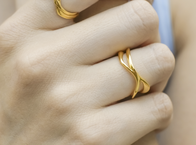 Dual Ring in 14k Gold Plated Brass: 6.5 / 52.75