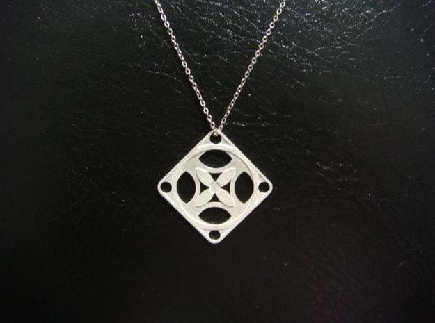 Square Pendant or Charm - Four Petal Flow 3d printed Silver - Chain not included