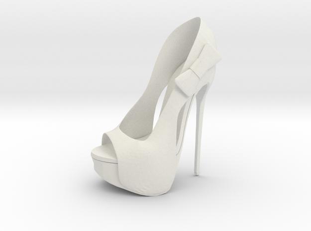 Left Peeptoe High Heel with Bow in White Natural Versatile Plastic