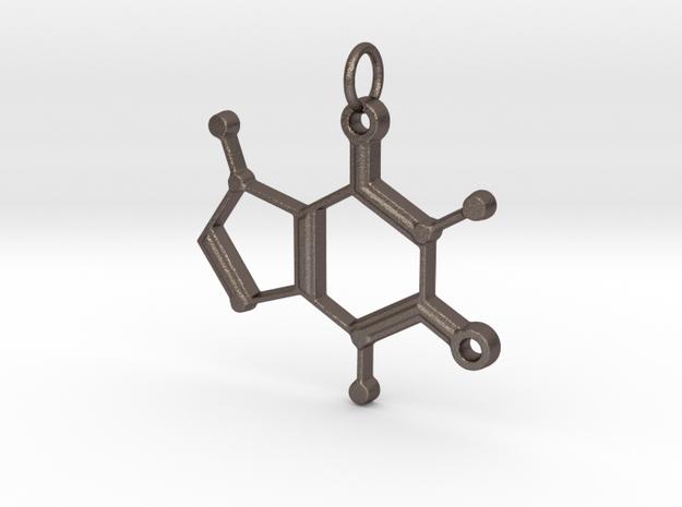 Caffeine Molecule Pendant in Polished Bronzed-Silver Steel