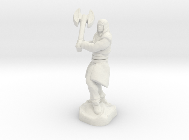 Human Blood Hunter with Battle axe in White Natural Versatile Plastic