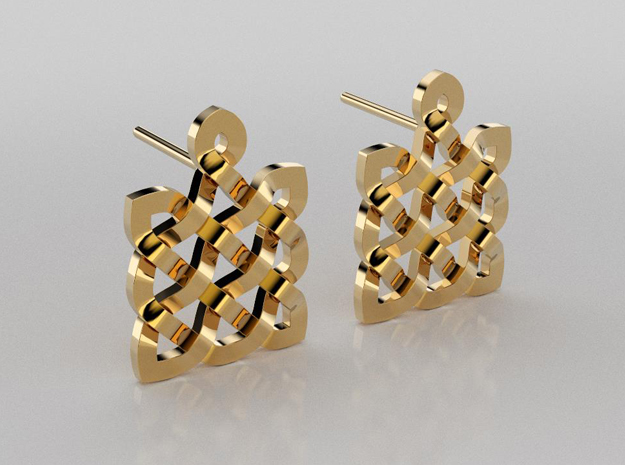 Celtic knots square earrings in 14K Yellow Gold