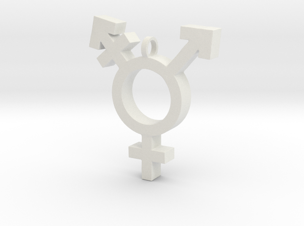 Transgender Symbol in White Natural Versatile Plastic