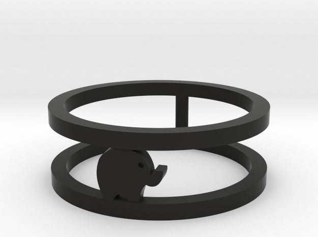 Lucky Elephant Ring  in Black Premium Versatile Plastic