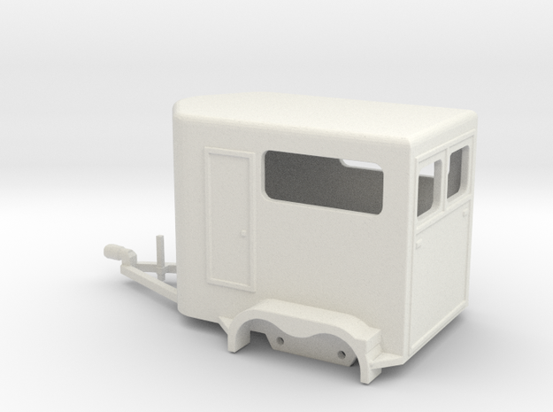 1030 Horse Trailer HO in White Natural Versatile Plastic: 1:87 - HO