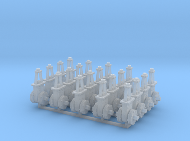 O scale  Gate Valve - 6in 4C V3 20ea in Smooth Fine Detail Plastic