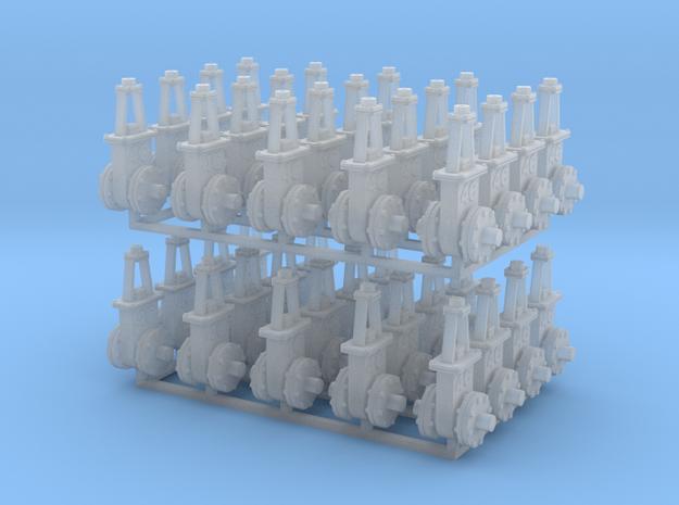 O scale  Gate Valve - 6in 4C V3 40ea in Smooth Fine Detail Plastic