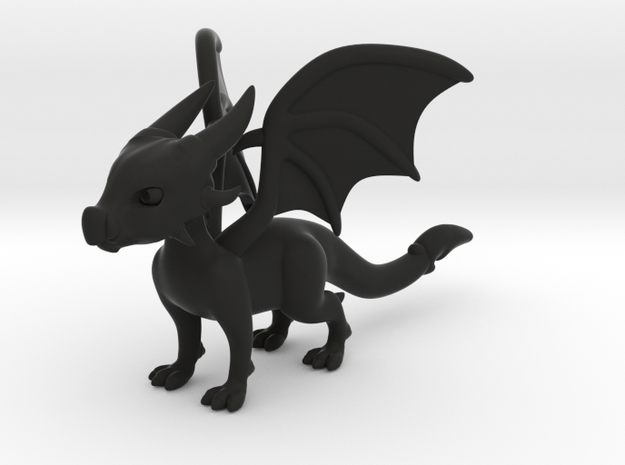Cynder the Dragon 5cm Tall in Black Natural Versatile Plastic