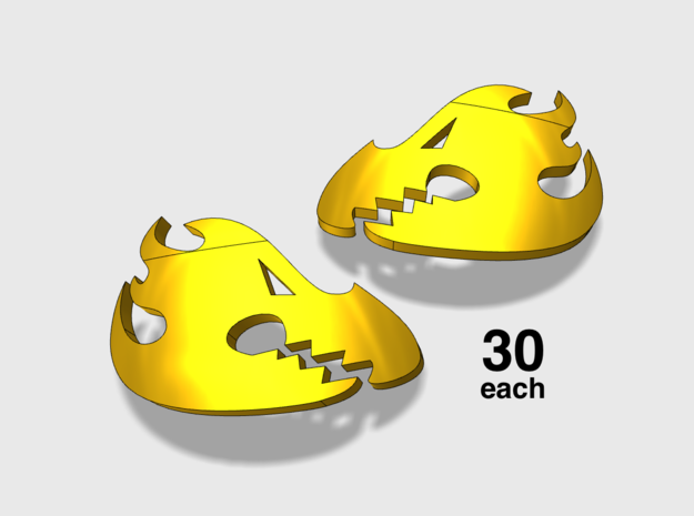 60x Flame Dragons : Shoulder Insignia pack in Smoothest Fine Detail Plastic