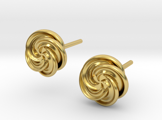 Pinwheel Flower Stud Earrings in Polished Brass