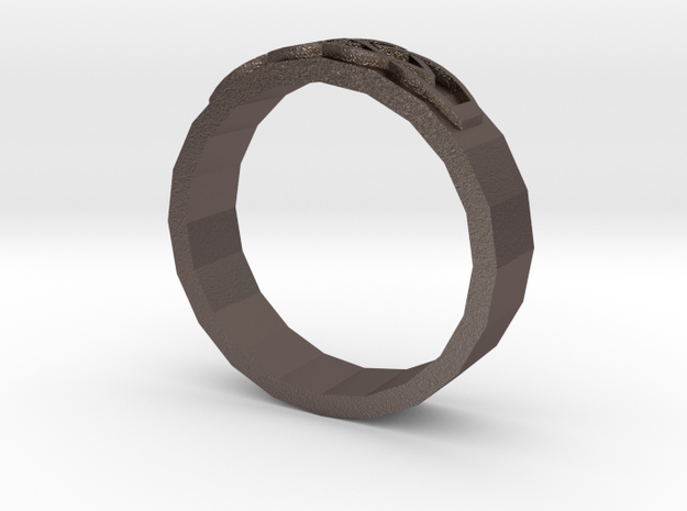 Knotwork ring in Polished Bronzed-Silver Steel