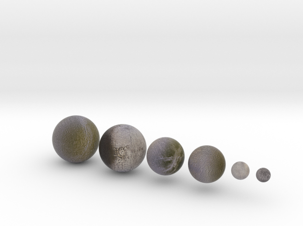 6 Moons of Saturn set 1:100 million in Natural Full Color Sandstone