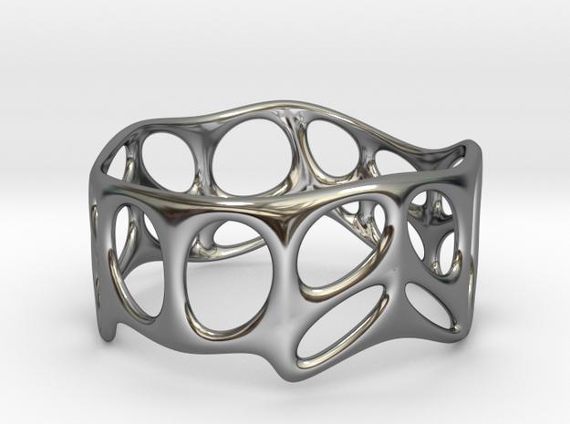 Voronoi Wire Bracelet (001c) in Fine Detail Polished Silver