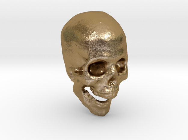 skull hollowed  in Polished Gold Steel