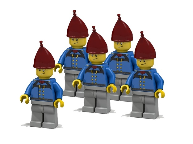 5 x Grenadier Hats 3d printed Prussian Grenadiers (Render of an example usage)