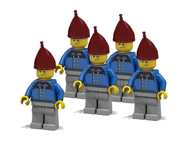 5 x Grenadier Hats 3d printed Prussian Grenadiers (Render of an example usage)