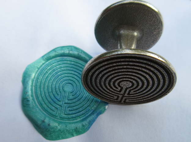 Labyrinth Wax Seal in Polished Bronzed-Silver Steel