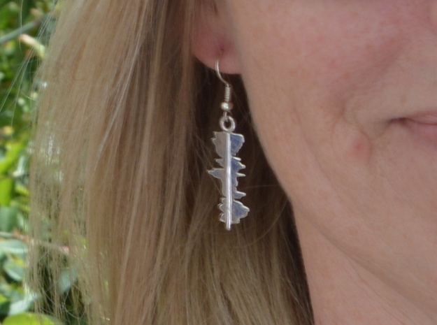"""Custom Earring made from 2 """"I Love You"""" Waveforms in Rhodium Plated Brass"""