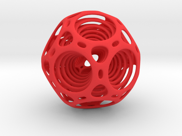 Nested dodecahedron in Red Processed Versatile Plastic