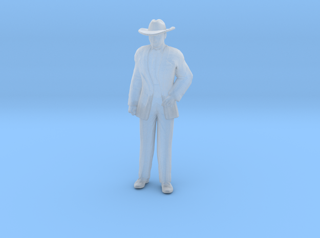Man Standing: Suit and Hat in Smoothest Fine Detail Plastic: 1:64 - S