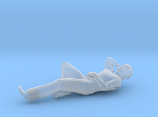 Man Laying Left Leg & Arm Bent in Smoothest Fine Detail Plastic: 1:64 - S
