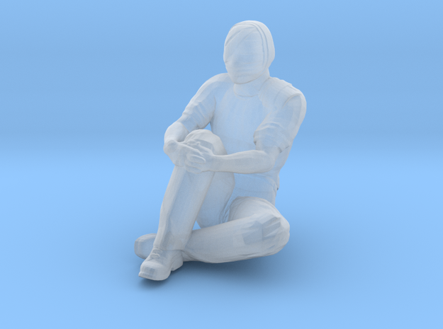 Man Sitting on Ground: Head & Neck Bandaged in Smoothest Fine Detail Plastic: 1:64 - S