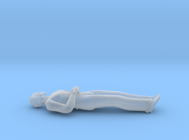 Man Lying Down: Hands on Abdomen in Smoothest Fine Detail Plastic: 1:64 - S