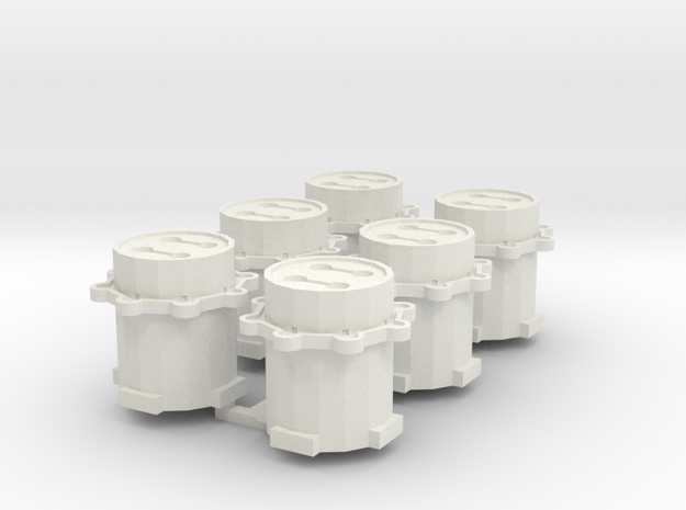 WWII Flak Tower x6 in White Natural Versatile Plastic