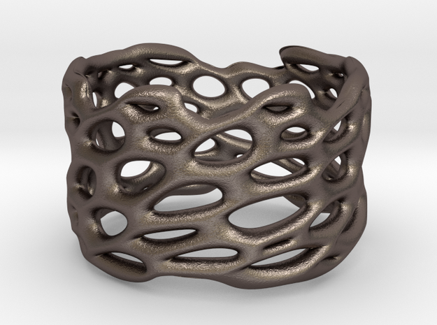 Lattice0104Ring in Polished Bronzed-Silver Steel
