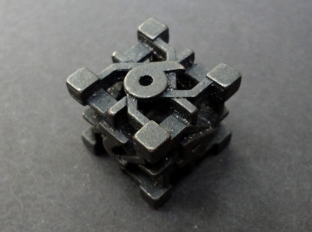 Intangle Die6 in Polished and Bronzed Black Steel