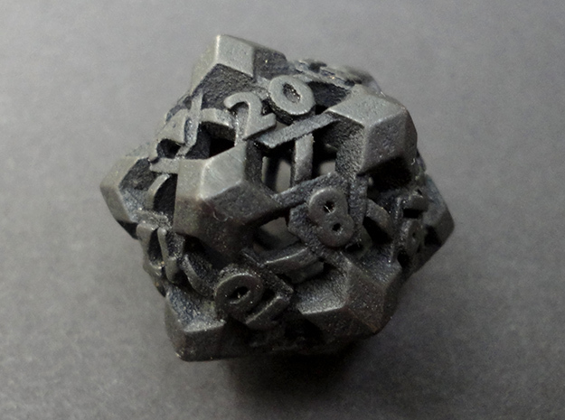 Intangle d20 in Polished and Bronzed Black Steel