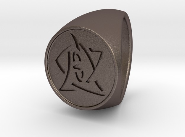 Elder Sign Ring Size 13.5 in Polished Bronzed-Silver Steel