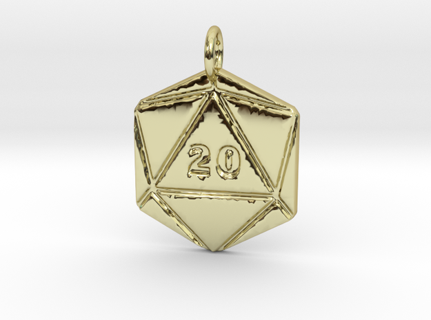 D20 Pendant - Precious in 18k Gold Plated Brass