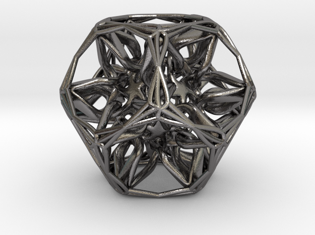 Organic Dodecahedron star nest in Polished Nickel Steel